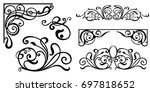 set of vintage baroque ornament ... | Shutterstock .eps vector #697818652
