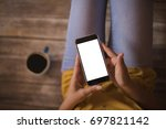 girl with a smart phone with... | Shutterstock . vector #697821142