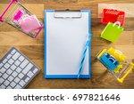 model shopping bag and shopping ... | Shutterstock . vector #697821646