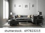 interior living studio gray ... | Shutterstock . vector #697823215