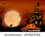happy halloween background with ... | Shutterstock .eps vector #697823782