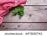 red and white kitchen towel ... | Shutterstock . vector #697830742