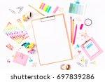 clipboard mockup and school... | Shutterstock . vector #697839286