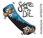 skateboard cartoon illustration ... | Shutterstock .eps vector #697845778