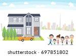 family 3 generations house tour ... | Shutterstock .eps vector #697851802