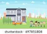family 3 generations house tour ... | Shutterstock .eps vector #697851808