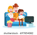 family watching tv with popcorn ... | Shutterstock .eps vector #697854082