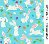 cute white rabbit seamless... | Shutterstock . vector #697858606