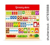 grocery store illustration.... | Shutterstock . vector #697858888