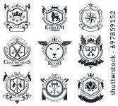 heraldic designs  vintage... | Shutterstock . vector #697859152