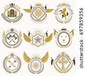 heraldic emblems with wings... | Shutterstock . vector #697859356