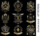 heraldic signs decorated with... | Shutterstock . vector #697859806