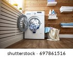 interior of a real laundry room ... | Shutterstock . vector #697861516