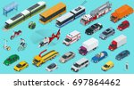 flat isometric city transport... | Shutterstock .eps vector #697864462