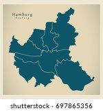 modern city map   hamburg city... | Shutterstock .eps vector #697865356