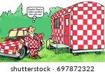 business cartoon about a man... | Shutterstock . vector #697872322
