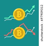 Stock vector a set of icons of gold coins with images of electronic currencies with up and down graphs behind 697909312