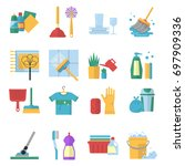 symbols of cleaning services... | Shutterstock . vector #697909336