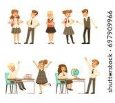 cute pupils in grey school... | Shutterstock .eps vector #697909966