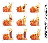 cute cartoon snails showing... | Shutterstock .eps vector #697909978