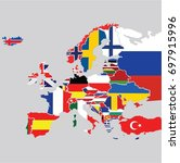 europe on the gray background... | Shutterstock .eps vector #697915996