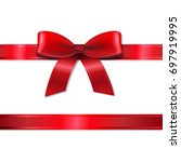 red ribbon and bow  | Shutterstock . vector #697919995