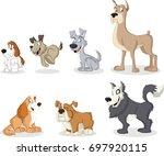 group of cartoon dogs. cute...   Shutterstock .eps vector #697920115