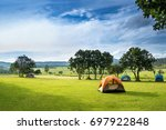 camp site in the forest ... | Shutterstock . vector #697922848