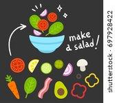 cartoon vegetable set for... | Shutterstock .eps vector #697928422