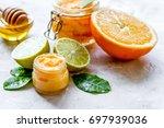 organic citrus scrub homemade...   Shutterstock . vector #697939036