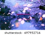 petals falling technology in...   Shutterstock . vector #697952716