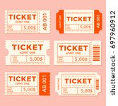 ticket set icon vector... | Shutterstock .eps vector #697960912