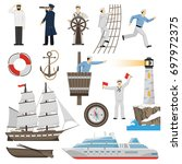 old fashioned sailing ship and... | Shutterstock .eps vector #697972375