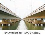 long bridge cross over the big...   Shutterstock . vector #697972882