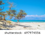 chrissi island beach background ... | Shutterstock . vector #697974556