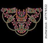neckline ethnic design. floral... | Shutterstock .eps vector #697978522