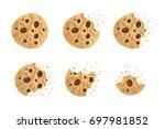 bitten chip cookie vector... | Shutterstock .eps vector #697981852