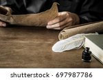 man reading an old letter. old... | Shutterstock . vector #697987786