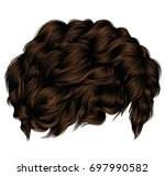 trendy curly hairs dark brown... | Shutterstock .eps vector #697990582