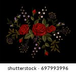 red rose embroidery on black... | Shutterstock .eps vector #697993996