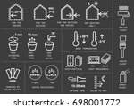 vector set of icons for packing ... | Shutterstock .eps vector #698001772