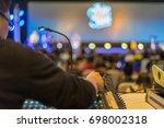 sound technician and lights... | Shutterstock . vector #698002318