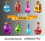 potion bottle transparent set... | Shutterstock .eps vector #698002792