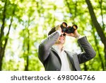 business man in suit with... | Shutterstock . vector #698004766