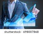businessman asian use hand show ...   Shutterstock . vector #698007868
