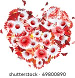 beautiful heart with flowers... | Shutterstock .eps vector #69800890