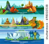 asian travel banners set with... | Shutterstock .eps vector #698010538