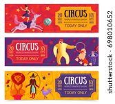 circus show set of horizontal... | Shutterstock .eps vector #698010652