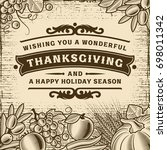 thanksgiving vintage brown card | Shutterstock . vector #698011342