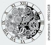 watch parts. clock mechanism... | Shutterstock . vector #698011618
